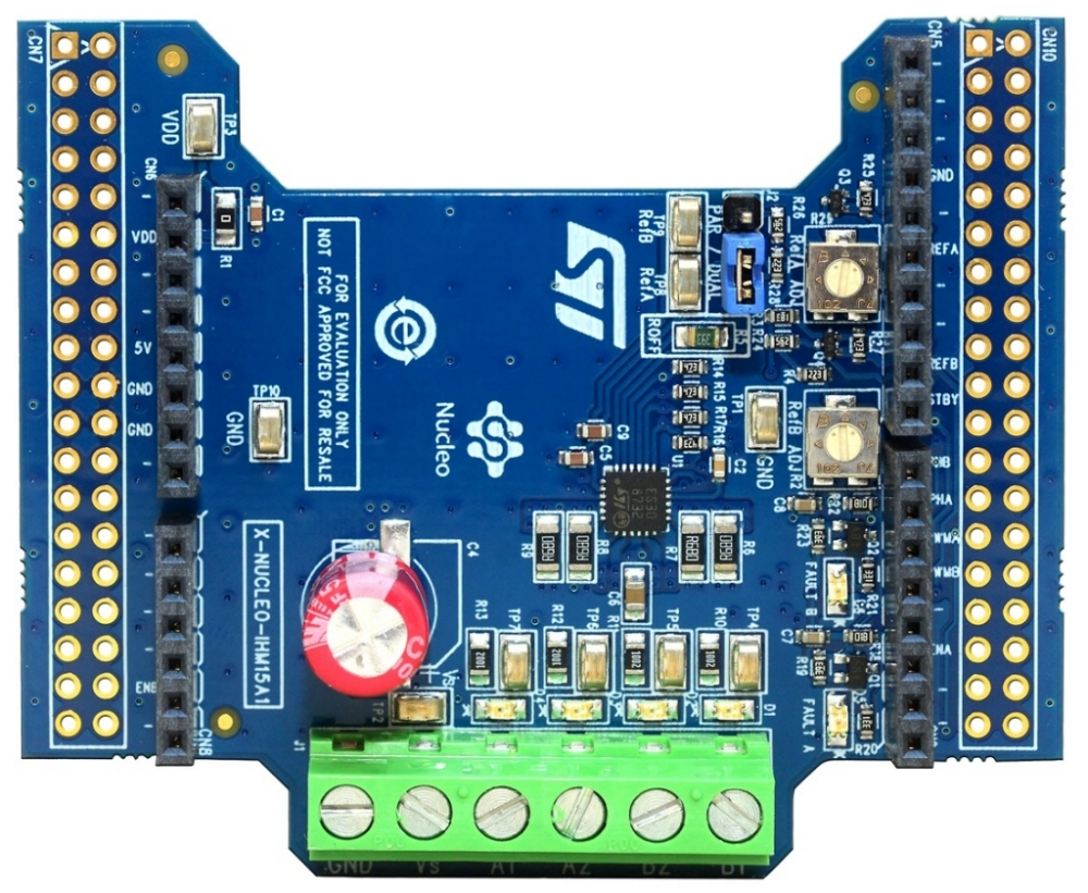 Dual brush DC motor driver expansion board based on STSPIN840 for STM32 Nucleo