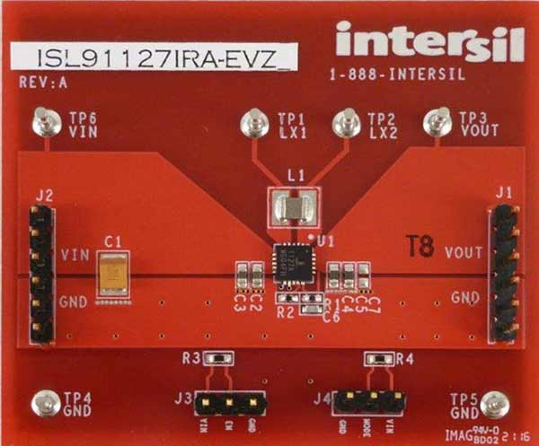 Eval Board for ISL91127IR buck-boost regulator with adjustable voltage