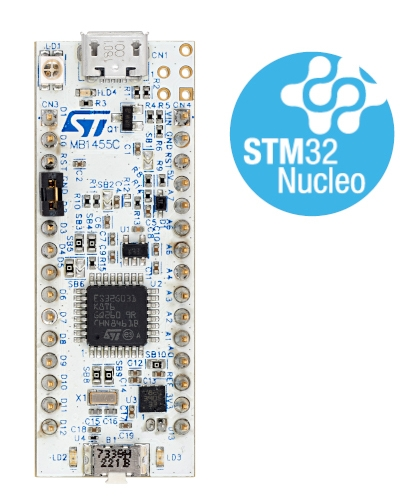STM32 Nucleo-32 development board with STM32G031K8 MCU, supports Arduino nano connectivity