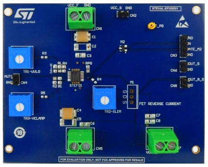 Evaluation board based on the STEF01 fully programmable universal electronic fuse