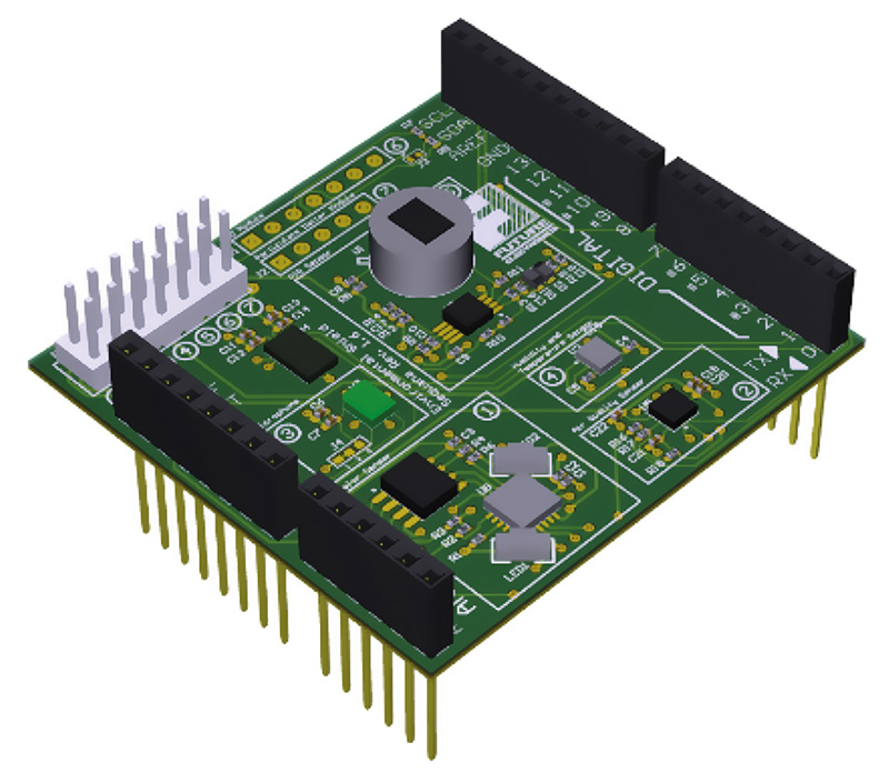 Sensor shield board provides complete system for indoor air quality measurement.