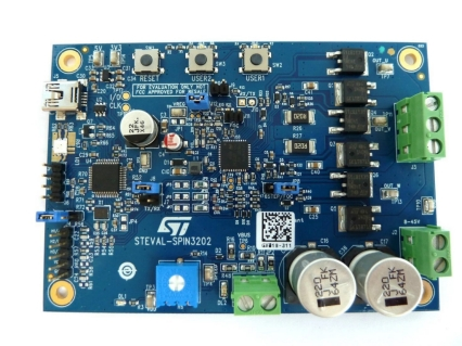 STSPIN32F0A advanced 3-phase BLDC driver with embedded STM32 MCU single shunt evaluation board