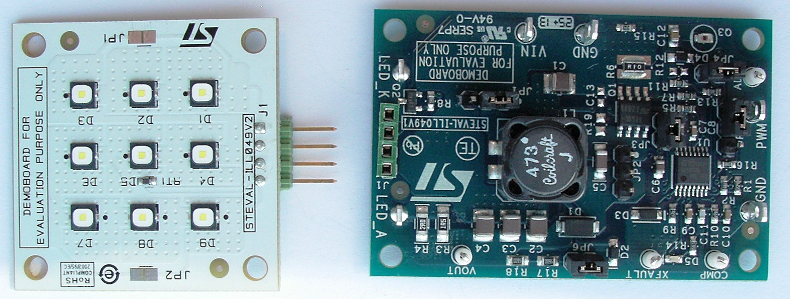 LED driver based on the LED6001 + 9-LED board with NTC sensor